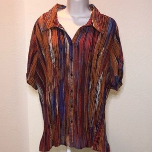 Avenue - Orange, Purple, & Cream Stripe-ish Shirt